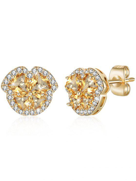 hot Rhinestone Crystal Inlaid Elegant Stud Earrings - BRIGHT YELLOW