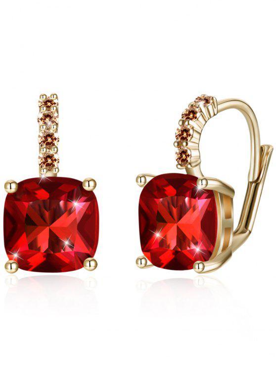 Funkelnde Kristall Strass eingelegten Ebene zurück Ohrringe - Rot