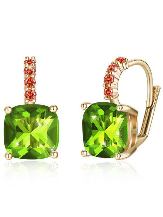 fashion Sparkling Crystal Rhinestone Inlaid Level Back Earrings - GREEN ONION