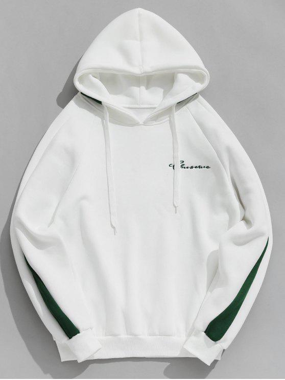 women Contrast Letter Stripes Fleece Hoodie - WHITE L