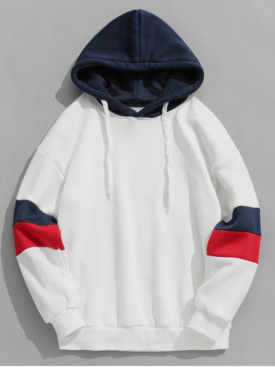 affordable Contrast Stripe Fleece Hoodie - WHITE XL