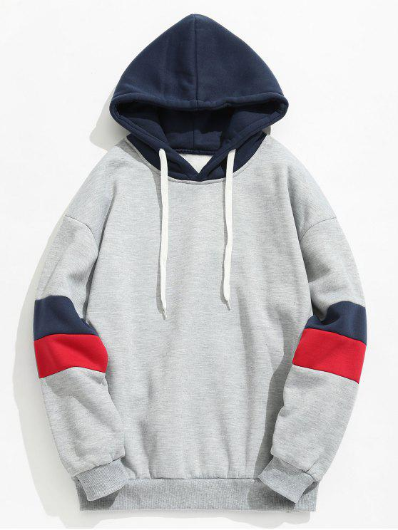 women Contrast Stripe Fleece Hoodie - LIGHT GRAY M
