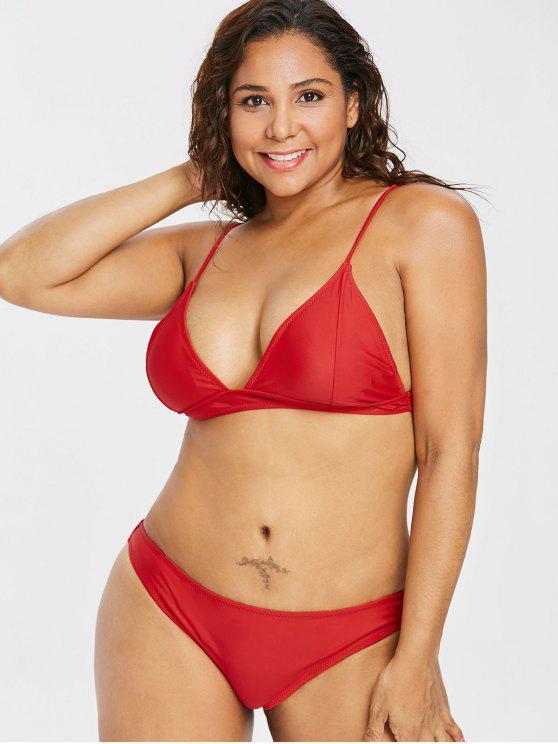 latest Padded Plus Size Bikini Set - LOVE RED 3X