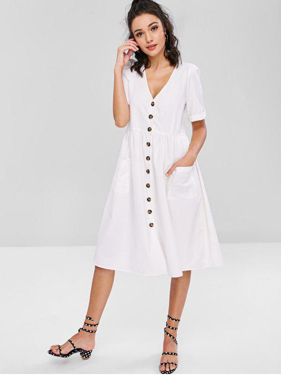 latest Pockets Button Front Loose Fitting Midi Dress - WHITE L