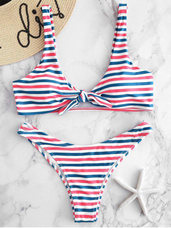 Knoten bunte Gestreiftes Bikini Set - Multi-A M