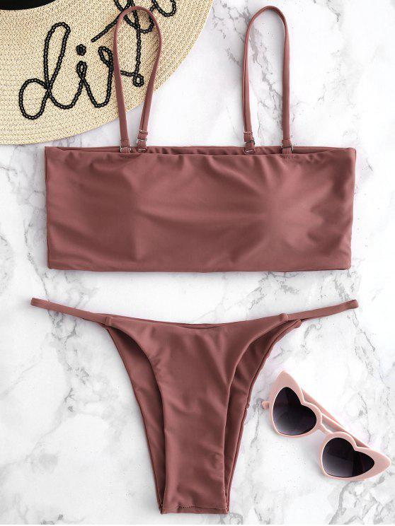 women Padded Cami Thong Bikini Set - TULIP PINK L