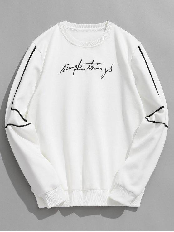 affordable Embroidery Letter Striped Fleece Sweatshirt - WHITE XL