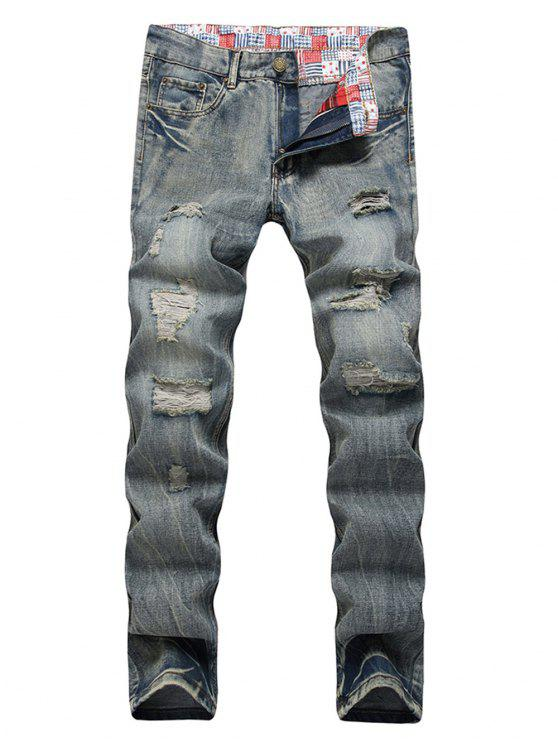 Faded Wash Zip Fly Distressed Jeans - Dunkelgrau 40