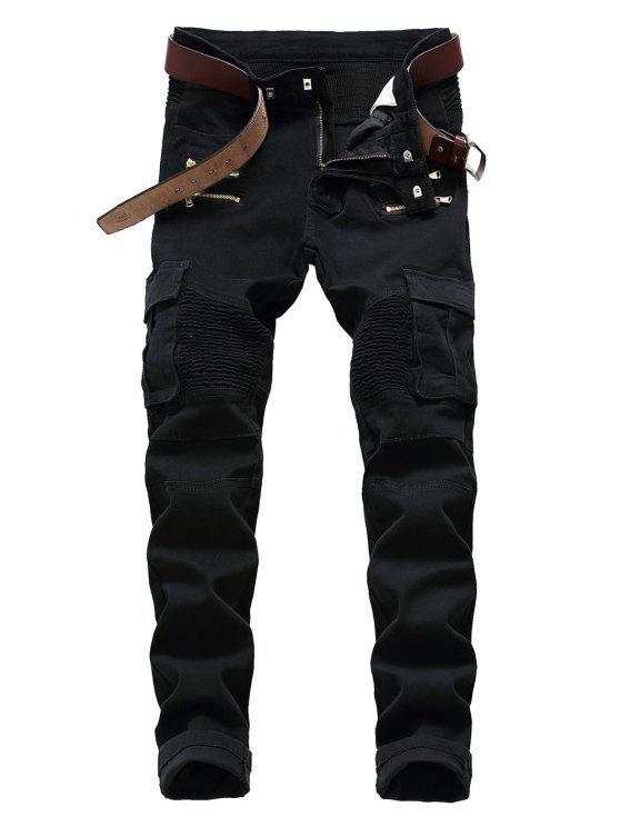 Calças de ciclista com zíper embelezado com vários bolsos - Preto 40