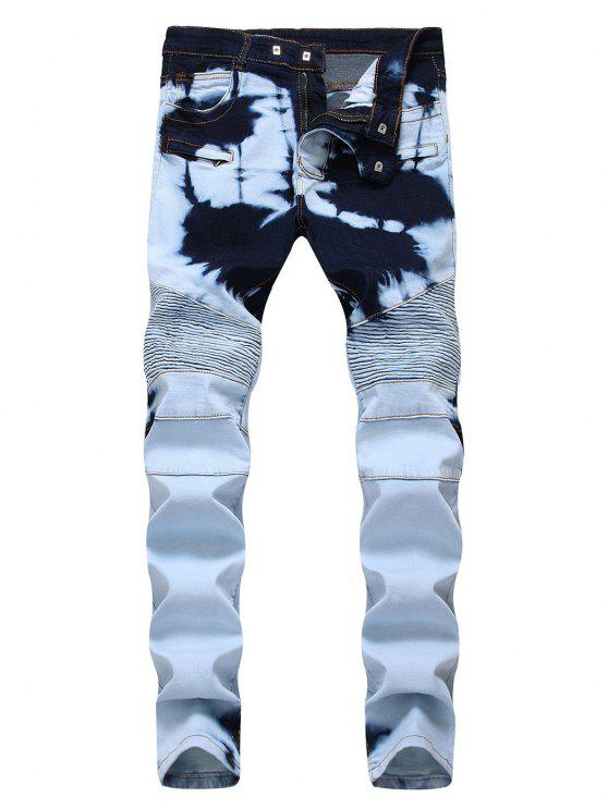 online Tie Dye Zip Fly Biker Jeans - CRYSTAL CREAM 42