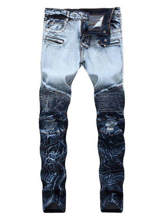 Zip Fly Ombre Biker Jeans - Blaubeere 42