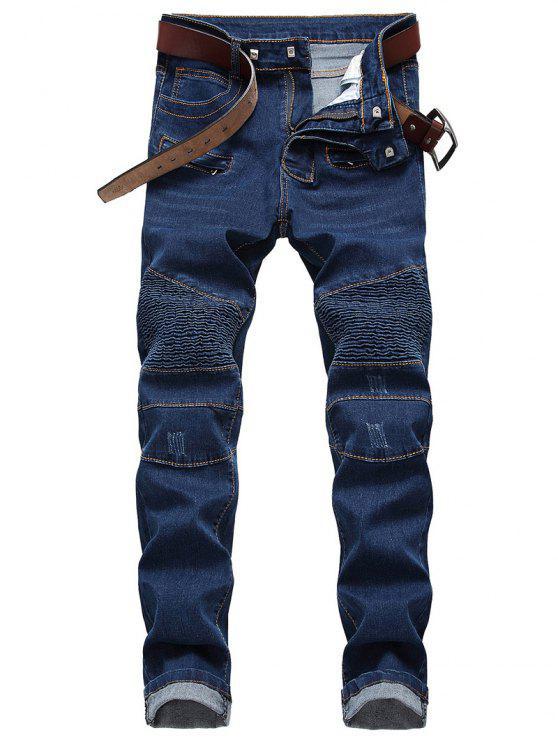 women's Straight Leg Zip Embellished Biker Jeans - BLUE 42