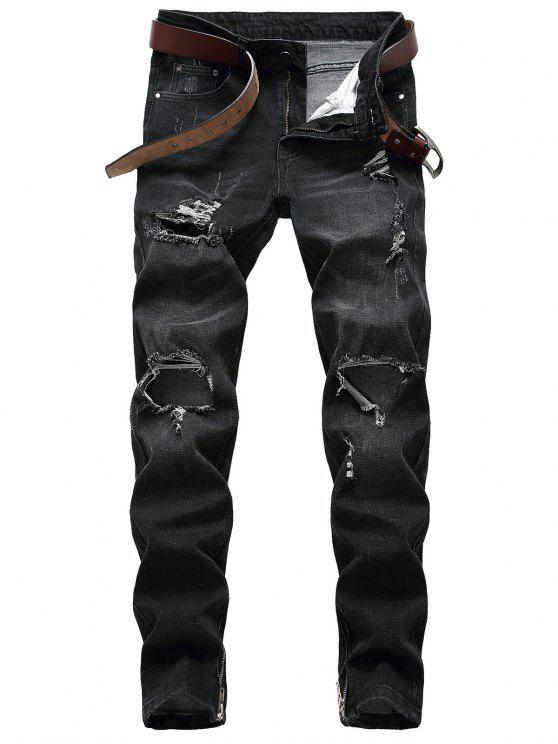 Jeans Strappati Con Cerniera - Nero 32