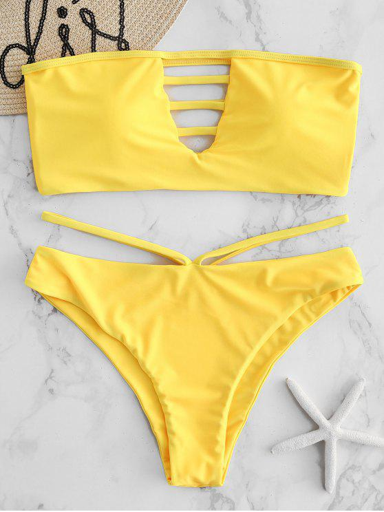 ladies ZAFUL Lattice High Cut Bandeau Bikini Set - BRIGHT YELLOW L