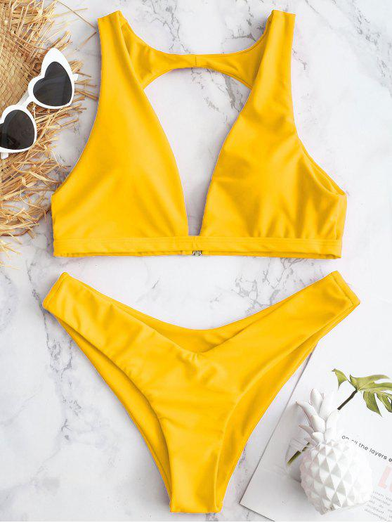 fancy Cut Out V-Shape Cheeky Bikini Set - BRIGHT YELLOW L