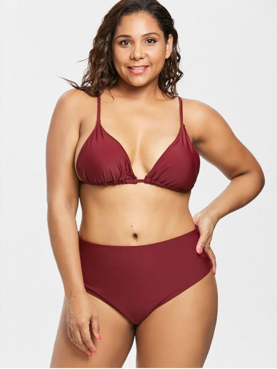 buy Plus Size High Cut Bikini Set - RED WINE L