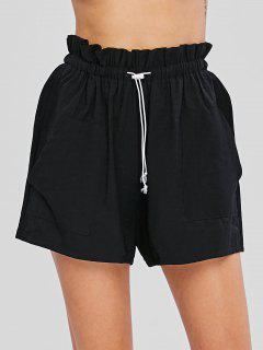 Patch Pockets High Waisted Shorts - Black M
