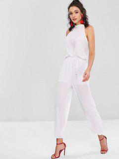 Tied Sleeveless Wide Leg Jumpsuit - White Xl