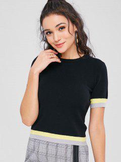 Crew Neck Stripes Panel Sweater - Black L