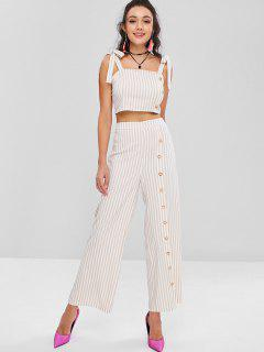 Tie Shoulder Striped Crop Top And Pants Set - Apricot L
