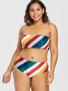 Bikini Bandeau Rayé à Taille Haute Grande Taille - Multi-a L