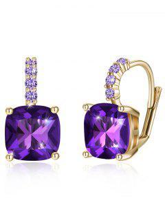 Sparkling Crystal Rhinestone Inlaid Level Back Earrings - Purple Iris