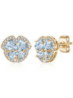 Rhinestone Crystal Inlaid Elegant Stud Earrings - Light Sky Blue