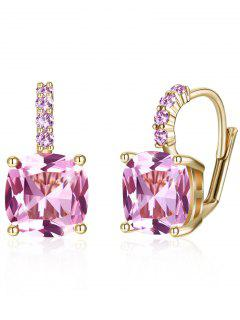 Sparkling Crystal Rhinestone Inlaid Level Back Earrings - Carnation Pink