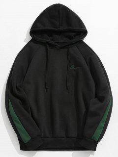 Contrast Letter Stripes Fleece Hoodie - Black Xs