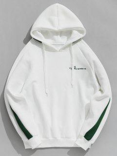 Contrast Letter Stripes Fleece Hoodie - White S
