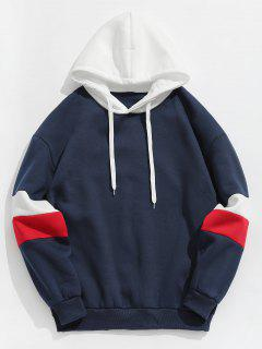 Contrast Stripe Fleece Hoodie - Deep Blue Xl