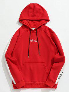 Contrast Embroidery White Pocket Fleece Hoodie - Red L