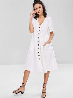 Pockets Button Front Loose Fitting Midi Dress - White M