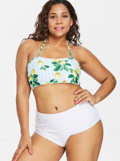 Lemon Striped Plus Size High Waisted Bikini - White L