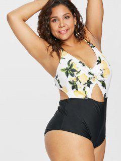 Plus Size Cut Out Lemon Print Swimsuit - White 3x
