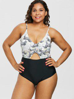 Plus Size Zebra High Waisted Contrast Swimsuit - Multi L