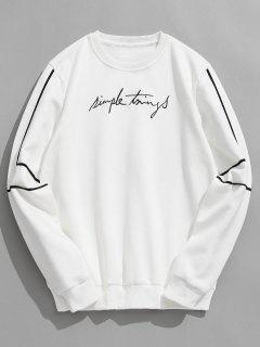 Embroidery Letter Striped Fleece Sweatshirt - White L