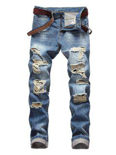 Zip Fly Destroyed Light Wash Jeans - Dodger Blue 38