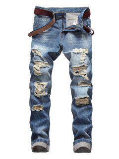 Zip Fly Destroyed Light Wash Jeans - Dodger Blue 34
