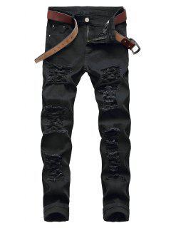 Zip Fly Distressed Straight Leg Jeans - Black 32
