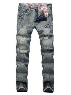 Faded Wash Zip Fly Distressed Jeans - Dark Gray 34