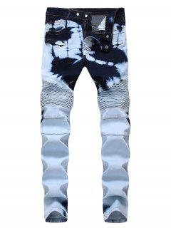 Tie Dye Zip Fly Biker Jeans - Crystal Cream 32