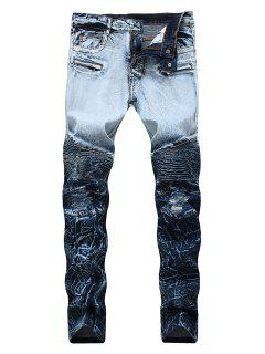 Zip Fly Ombre Biker Jeans - Blueberry Blue 42
