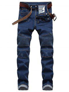 Straight Leg Zip Embellished Biker Jeans - Blue 32