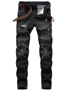 Distressed Faded Wash Zip Hem Jeans - Black 40