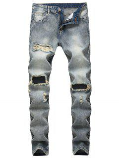 Destroyed Faded Wash Zip Fly Jeans - Blue Gray 38