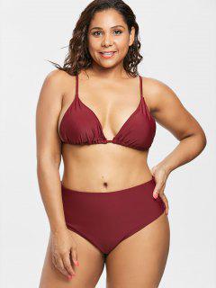 Plus Size High Cut Bikini Set - Red Wine 1x