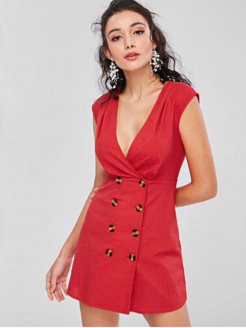 best Low Cut Buttoned Short Dress - LOVE RED L Mobile
