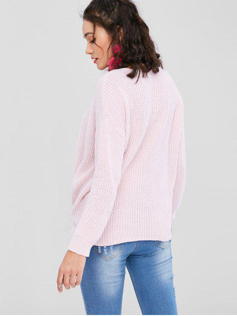 women Plunging Neck Chunky Sweater - PIG PINK L Mobile