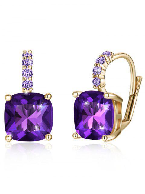new Sparkling Crystal Rhinestone Inlaid Level Back Earrings - PURPLE IRIS  Mobile